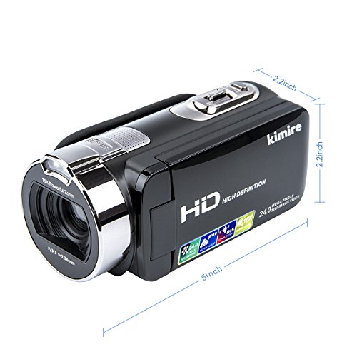 Vlogging Camera Video Camera Camcorder Digital Recorder,Kimire HD 1080P 24 MP 16X Powerful Digital Zoom Video Camcorder 2.7 Inch LCD With 270 Degree Rotation Screen (312P)