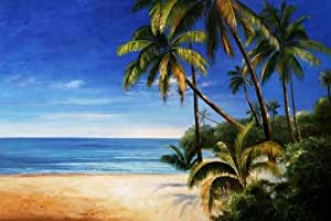 The Linen Canvas of oil painting 'Seaview with Coconut Trees' ,size: 16x24 inch / 41x61 cm ,this High Definition Art Decorative Prints on Canvas is fit for Basement artwork and Home gallery art and Gifts