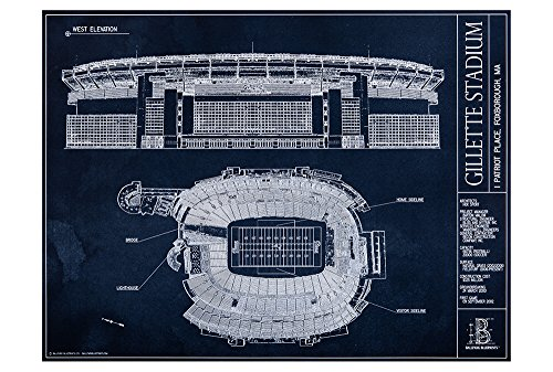 Gillette Stadium Blueprint Style Print (Unframed, 18