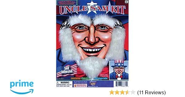UNCLE SAM PATRIOTIC BEARD KIT Sideburns Eyebrows White Old Man Fake Hair USA