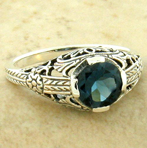 Genuine London Blue Topaz Wedding Engagement 925 Sterling Silver Ring SZ 10 ()
