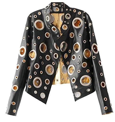 Eyelet Womens Jacket (Qiangjinjiu Women's Short Eyelet Moto Faux Leather Biker Outwear Jackets Black L)