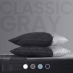 SLEEP ZONE Striped Bed Sheet Sets 120gsm Luxury Microfiber Temperature Regulation Sheets Soft Wrinkle Free Fade Resistant Easy Care (Gray, Queen)