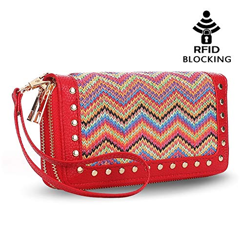 K A Double Zipper Around Wallet Clutch Large Travel Purse Chevron Zigzag RFID Blocking for Women, Girls