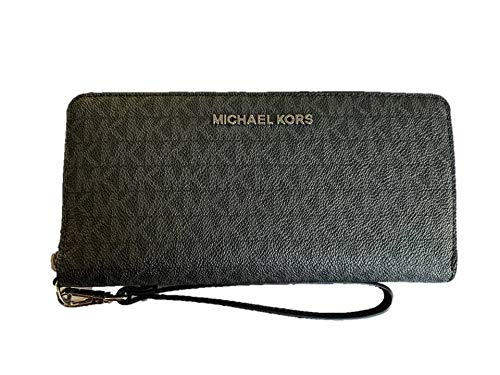 MICHAEL KORS Jet Set Travel Continental PVC Signature Zip Wallet Wristlet in Black ()