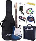 Full Size Blue Burst Electric Guitar with Amp, Case and Accessories Pack Beginner Starter Package