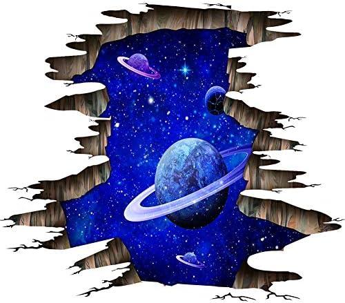 Martin Kench Kreative 3D Boden Aufkleber, Weltraum Planet Sterne Decke Aufkleber Wandtattoo Wandaufkleber Boden Sticker für Wohnzimmer Schlafzimmer (A#)