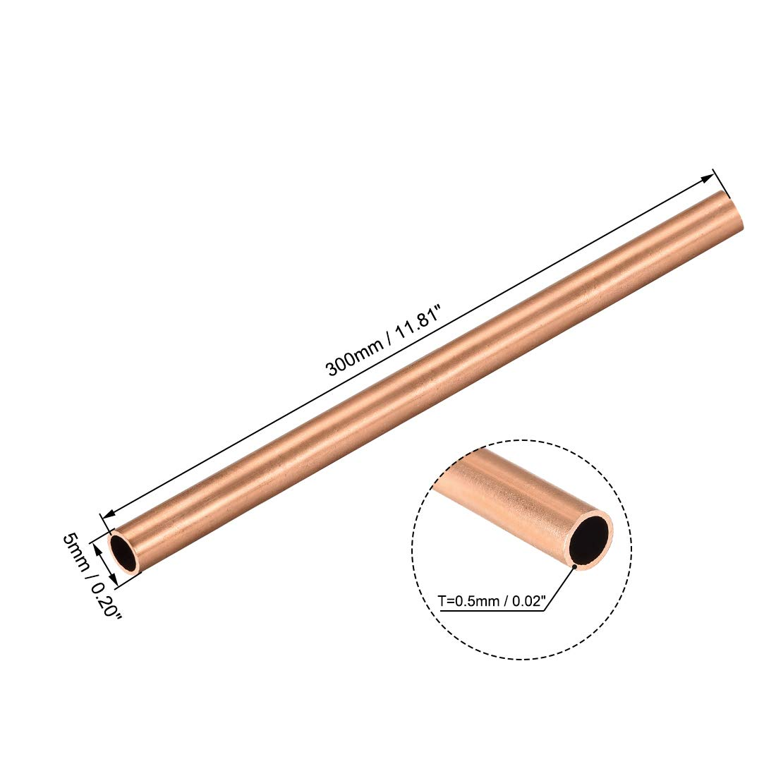 uxcell Copper Round Tube 10mm OD 1mm Wall Thickness 300mm Long Hollow Straight Pipe Tubing 2 Pcs