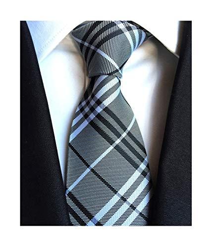Men Slim Modern Ties Menswear Elegant Luxury Unique Neckties in Black White Grey