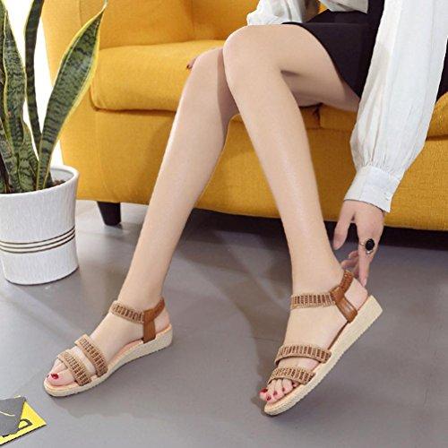 Sandalias de vestir, Ouneed ® Mujeres Bohemia Plano Ocio Sandalias Zapatos Peep-Toe marrón