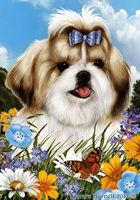 Shih Tzu Gold/White - Best of Breed Summer Flowers Large Flags
