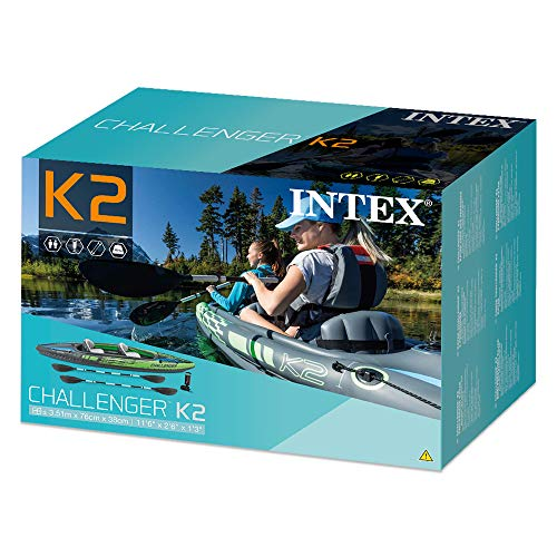 Intex K2 Challenger Kayak 2 Person Inflatable Canoe with