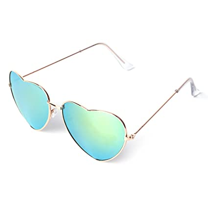 a335831558cc9 Image Unavailable. Image not available for. Color  Hukai Reflective  Sunglasses Outdoor Men Women Heart Shaped Metal Frame Lens Fashion ...