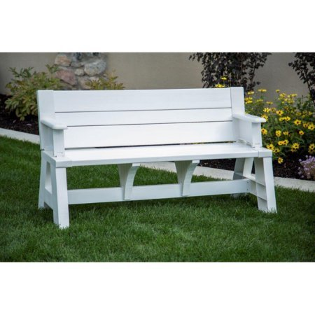 Mattsglobal Convert-A-Bench Patio Bench and Picnic Table (White) (Unit Convertible Bench)
