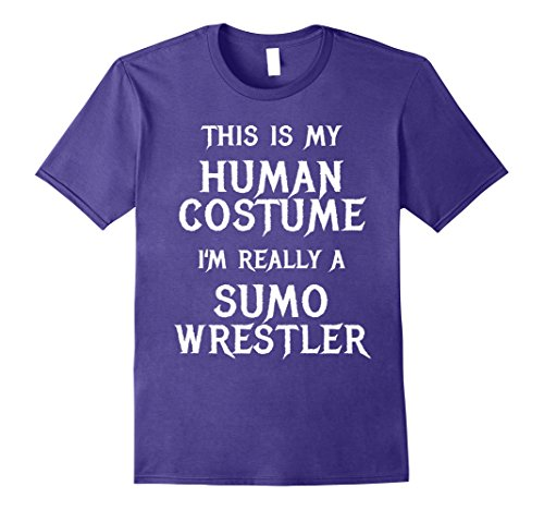 90's Wrestlers Costumes (Mens Funny Sumo Wrestler Halloween Costume Shirt Men Women Kids 2XL Purple)