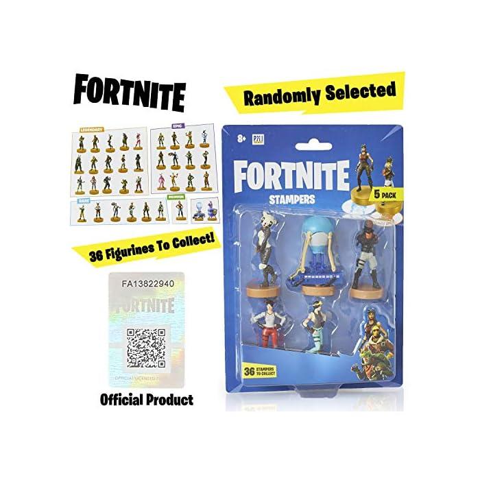 51NlIvF2UTL ⚔️ PACK 5 FIGURAS FORTNITE: Cada paquete contiene 5 figuras del famoso videojuego. Todas las figuras han sido diseñadas cuidando cada detalle para obtener un resultado muy realista, incluidas sus armas del juego. Cada figura mide aproximadamente 7.5 cm. ⚔️ 36 ESTAMPADORES PARA COLECCIONAR: Hay 36 mini figuras para coleccionar en selecciones aleatorias de 5. Hemos incluido personajes legendarios y épicos como Fortnite Llama, Battle Bus, Panda, Skull Trooper, Bunny Brawler, Merry Marauder, Pumpkin Head, Love Ranger, Rex, Black Knight, Red Nosed Raider, Cuddle Team Leader, The Rabbit Raider, The Ginger Gunner, The Brite Bomber With Her Unicorn, Rapscallion, Diving Swim Girl, Burnout, Codename ELF, Nog Ops, Crackshot y muchos otros. ⚔️ PRODUCTO OFICIAL DE FORTNITE: Accesorios y productos de Fornite de la tienda oficial de Epic Games. Visite nuestra tienda online para encontrar sudaderas, mochilas y ropa a juego.