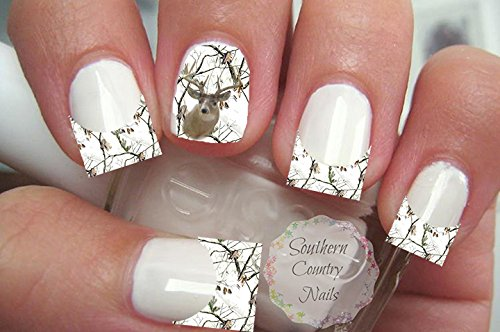 Camo Deer French Tips and Full Nail Art Decals (Deer Nail Decals)