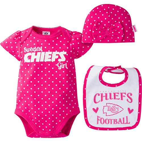 NFL Kansas City Chiefs Baby-Girls Bodysuit, Bib & Cap Set, Pink, 0-3 Months ()