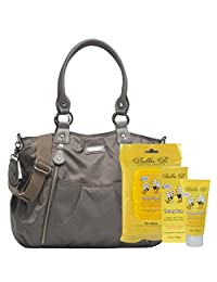 Bundle -3 Items:Storksak Olivia Diaper Bag Nylon - Grey & Bella B Honey Bum 2 oz & Bella B Babywipes 50 count