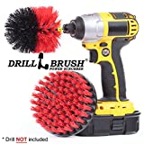 Drillbrush 2 Piece Drill Brush Red Stiff Bristle Rotary Cleaning Drill bit attachment brushes for Cleaning Siding, Brick, Stone, Fireplaces, Decks, Gutters, and More