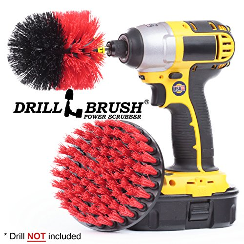 Deck Brush Kit - Drillbrush 2 Piece Drill Brush Red Stiff Bristle Rotary Cleaning Drill bit attachment brushes for Cleaning Siding, Brick, Stone, Fireplaces, Decks, Gutters, and More