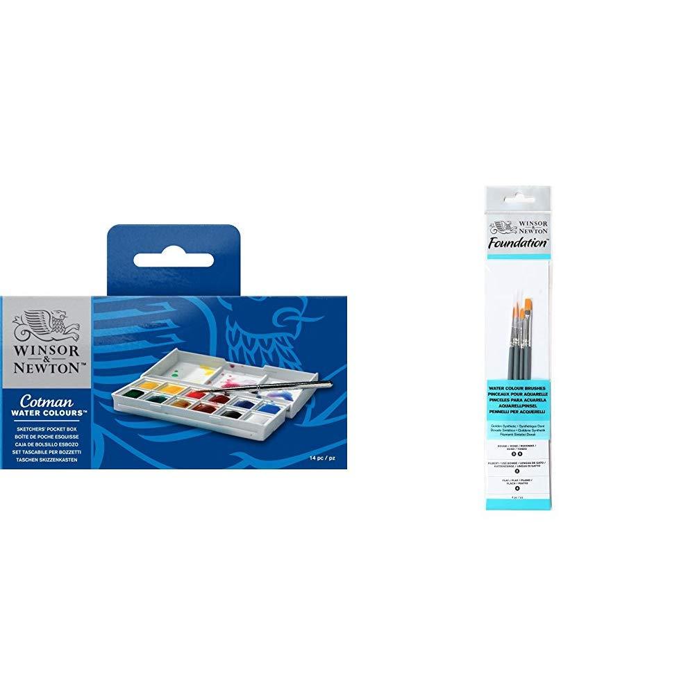 Round 3,5 Flat 4 Filbert 2 Winsor /& Newton acquerelli Cotman Confezione Tascabile Sketchers 12 mezzi Godets /& Foundation 4 Pennelli Acquarello