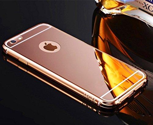 Sunroyal Ultra-sottile Mirror in Alluminio Struttura Frame in Metallo Custodia Bumper Case Skin per Apple iPhone 6 6S 4.7 pollici Protettivo della Copertura Shell Shiny Lucente Specchior Dura del PC S