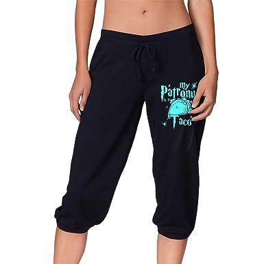 Amazon.com: Womens My Patronus is Tacos Tie Waist Yoga ...