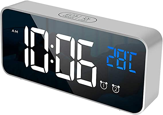 Digital Alarm Clock, Mirror Dimmer Large LED Display, Snooze, Intelligent Voice Control, Memory Function,Temperature Function for Bedroom Office Travel, li-ion Battery Including Silver