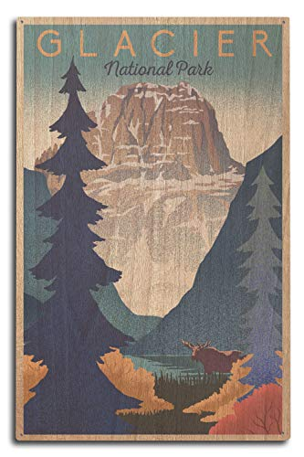Glacier National Park - Mountain Scene - Lithograph (10x15 Wood Wall Sign, Wall Decor Ready to Hang)