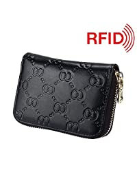 MuLier Top Grain Genuine Leather Embossed Female Small Purse Leather Card Holder (Black)