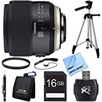 Tamron SP 35mm f/1.8 Di VC USD Lens for Canon EOS Mount Bundle includes Lens, Tripod, 67mm UV Filter, Lens Cleaning Pen, 16GB SDHC Memory Card, Reader, Wallet, Lens Cap Keeper and Beach Camera Cloth