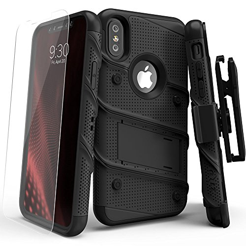 iPhone X Case - Zizo [Bolt Series] with FREE [iPhone X Screen Protector] Kickstand [12 ft. Military Grade Drop Tested] Holster Belt Clip Black/Black