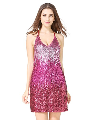 Womens Glitter Sequin Gowns Backless V Neck Party Sexy Mini Clubwear Prom Dress Not (Glitter Party Dress)