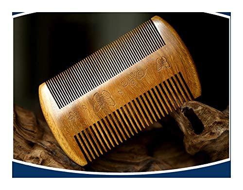 QJXSAN Wood Comb-Ideal for Men's Beard & Mustache-Handmade Premium Sandal Wood-Fine Dual Action Teeth. (Color : Green)