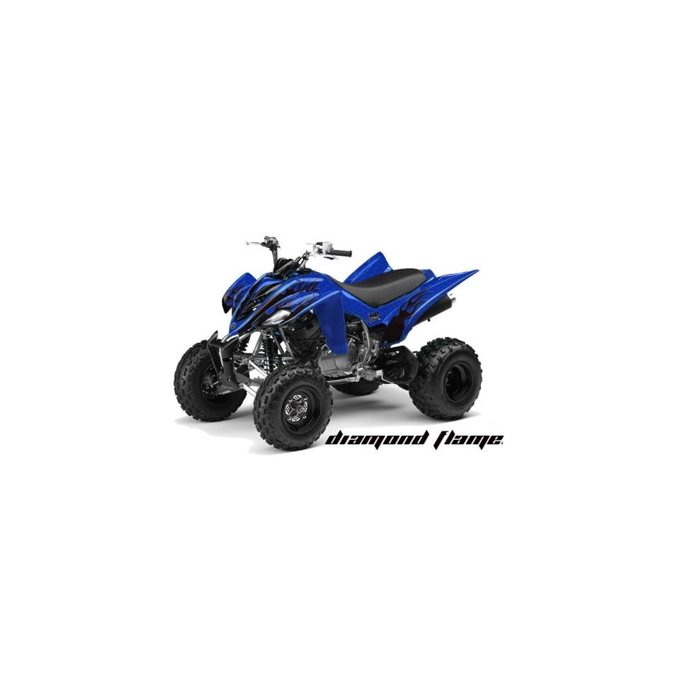 AMR Racing Yamaha Raptor 350 ATV Quad Graphic Kit   Diamond Flames Blue, Black