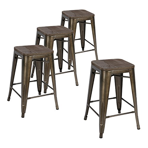 Wood Backless Bar Stools - 9