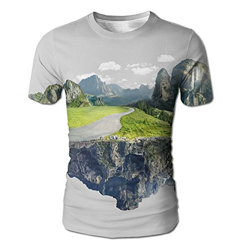 Cool Kong Floating (ZhiqianDF Mens Amazing Island With Grove Floating In The Air Classic White T-Shirts S)