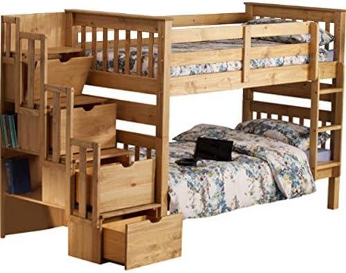 Litera de pino macizo. Con soporte de paso escalera, 3 cajones de almacenamiento, armario, lateral estantería –