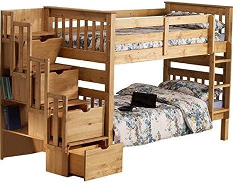 Litera de pino macizo. Con soporte de paso escalera, 3 cajones de almacenamiento, armario, lateral estantería – se puede separado en dos camas – una Durable y funcional ideal para niños y