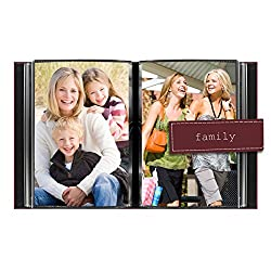 "Pioneer Photo Albums 36-Pocket 4 by 6-Inch Embroidered ""Family"" Strap Sewn Leatherette Cover Photo Album, Mini, Burgundy"