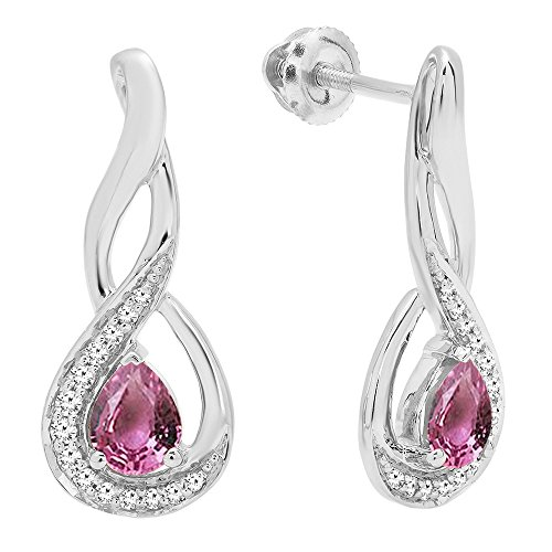 - Dazzlingrock Collection 10K 5X4 MM Each Pear Cut Pink Sapphire & Round Cut Diamond Infinity Drop Earrings, White Gold