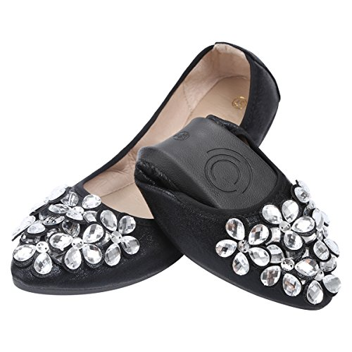 KUNSHOP Women Ballet Flats Rhinestone Wedding Ballerina Shoes