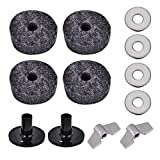 Dilwe 2Pcs Drum Cymbal Sleeve + 4Pcs 4cm Drum Cymbal Felt Washer + 2Pcs Wing Nut + 4Pcs Metal Pad Set