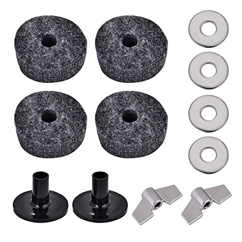 Dilwe 2Pcs Drum Cymbal Sleeve + 4Pcs 4cm Drum Cymbal Felt Washer + 2Pcs Wing Nut + 4Pcs Metal Pad - Metal Washers Cymbal