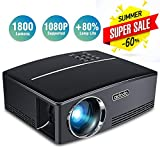 Aidodo Projector Mini Video Projectors LED 1800 Lumens Multimedia Home Theater Projector Portable Support 1080p HDMI USB SD Card VGA AV for Home Cinema TV Laptop Game Smartphones