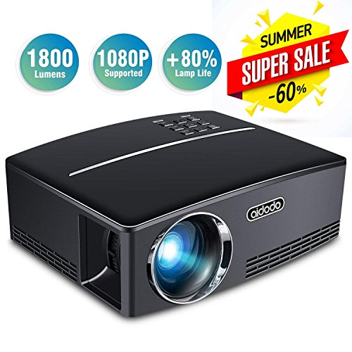 Aidodo Projector Mini Video Projectors LED 1800 Lumens Multimedia Home Theater Projector Portable Support 1080p HDMI USB SD Card VGA AV for Home Cinema TV Laptop Game Smartphones by Aidodo