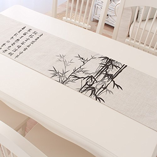 ASIBG Home Plum, Orchid, bamboo and chrysanthemum tea Gordon f. Shea cotton table runner of Chinese linen China style tea table cloth table runner,Table runner-bamboo,30×180cm