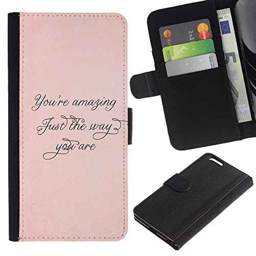 iKiki Tech / Etui Coque Housse de Protection en Cuir - Amazing Just The Way Peach Gold Calligraphy - Apple iPhone 6 Plus 5.5