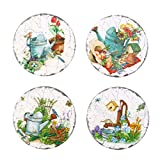 4 Pcs Ceramic Coaster Heat Resistant Non-slip Cup Mat Pad Home Decoration Kitchen Tool - Round Pastoral(Random Style)